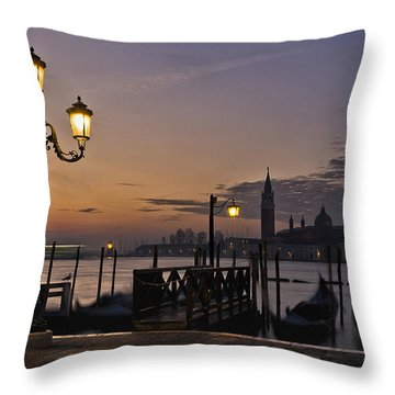 Throw Pillow featuring the photograph Venice Night Lights by Marion Galt