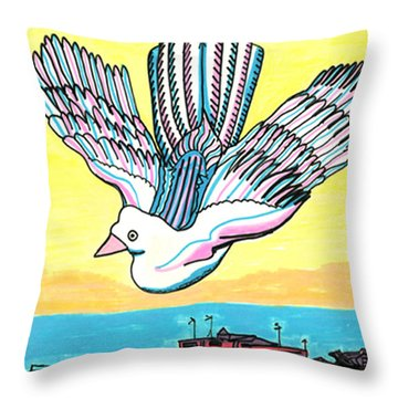 Throw Pillow featuring the drawing Venice Seagull by Don Koester