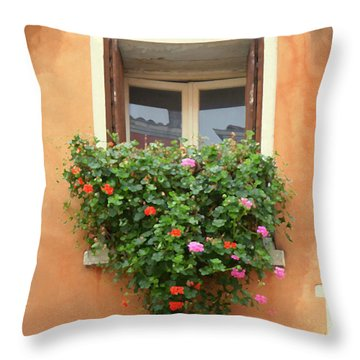 Venice Shutters Flowers Orange Wall Throw Pillow