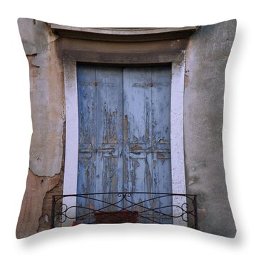 Venice Square Blue Shutters Throw Pillow