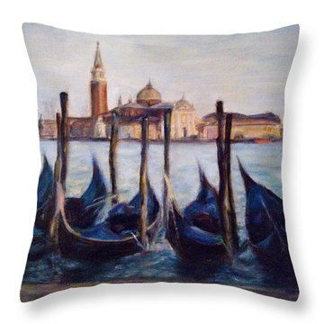 Venice Through The Gondolas Italy Painting Throw Pillow by Quin Sweetman