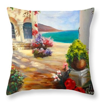 Throw Pillow featuring the painting Venice Villa by Jenny Lee