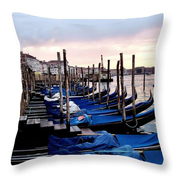 Venice - Waiting For The Day To Start Throw Pillow