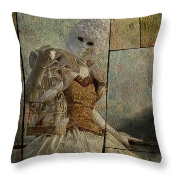 Throw Pillow featuring the photograph Venitian Carnival-bird In A Cage by Barbara Orenya