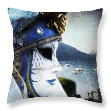 Throw Pillow featuring the photograph Venitian Carnival - La Dame Du Lac by Barbara Orenya