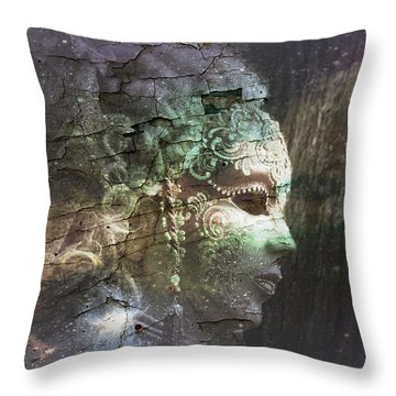 Throw Pillow featuring the digital art Venitian Carnival - The Shimmering Lady by Barbara Orenya
