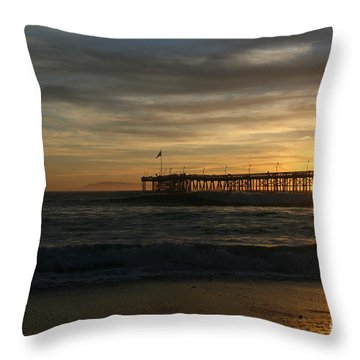 Throw Pillow featuring the photograph Ventura Pier 01-10-2010 Sunset  by Ian Donley