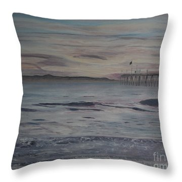Throw Pillow featuring the painting Ventura Pier High Surf by Ian Donley
