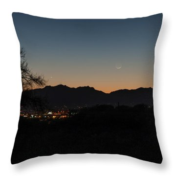 Throw Pillow featuring the photograph Venus And A Young Moon Over Tucson by Dan McManus
