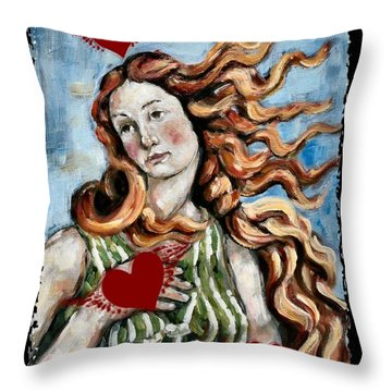 Venus On The Wing Throw Pillow by Carrie Joy Byrnes