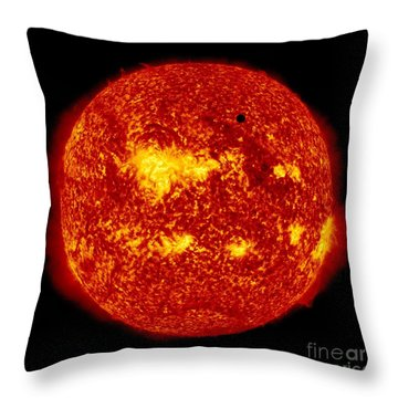 Venus Transit Throw Pillow by NASA and Photo Researchers