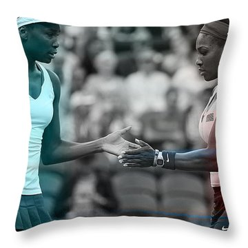 Venus Williams And Serena Williams Throw Pillow by Marvin Blaine