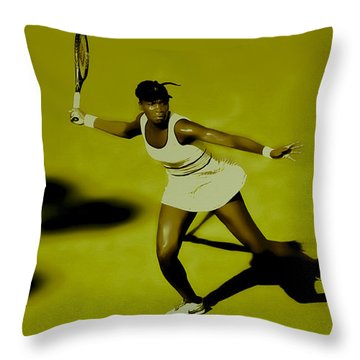 Venus Williams In Action Throw Pillow by Brian Reaves