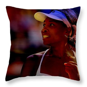 Venus Williams Throw Pillow by Marvin Blaine