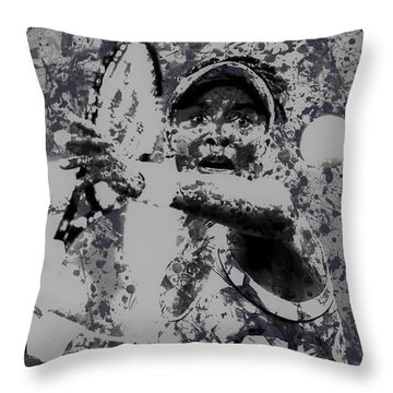 Venus Williams Paint Splatter 2e Throw Pillow by Brian Reaves