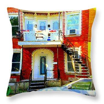 Verdun City Street Triplex Apartment Outdoor Winding Stairs Montreal Scenes Primary Colors C Spandau Throw Pillow by Carole Spandau