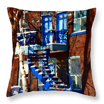 Verdun Duplex Stairs With Birch Tree Montreal Winding Staircases Winter City Scene Carole Spandau Throw Pillow by Carole Spandau