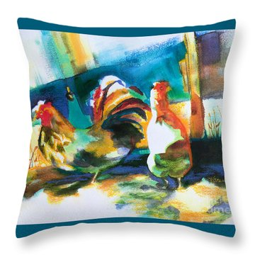 Throw Pillow featuring the painting Veridian Chicken by Kathy Braud