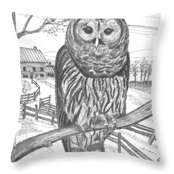 Vermont Barred Owl Throw Pillow