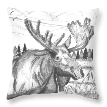 Vermont Bull Moose Throw Pillow