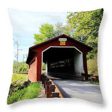 Throw Pillow featuring the photograph Vermont Covered Bridge by Trina  Ansel