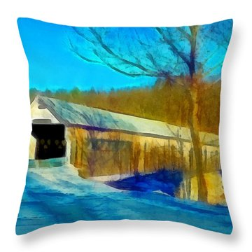 Vermont Covered Bridge Throw Pillow