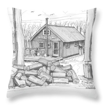 Vermont Hunter Lodge Throw Pillow