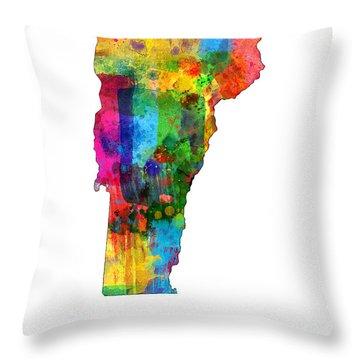 Vermont Map Throw Pillow