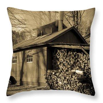 Vermont Maple Sugar Shack Circa 1954 Throw Pillow by Edward Fielding