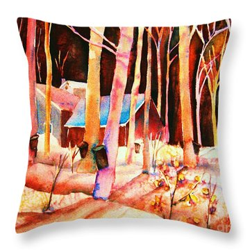 Vermont Maple Syrup Throw Pillow by Carole Spandau