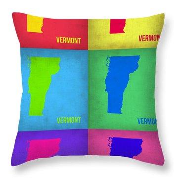 Vermont Pop Art Map 1 Throw Pillow