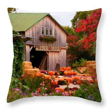 Vermont Pumpkins And Autumn Flowers Throw Pillow