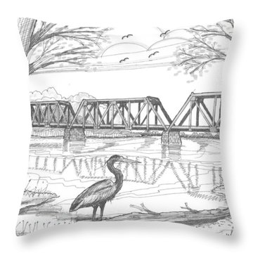 Vermont Railroad On Connecticut River Throw Pillow