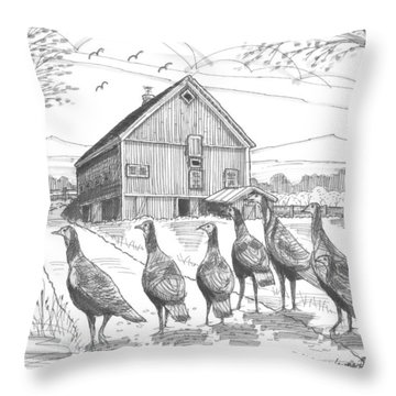Vermont Wild Turkeys Throw Pillow