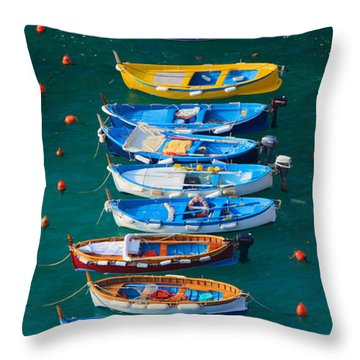 Vernazza Armada Throw Pillow by Inge Johnsson