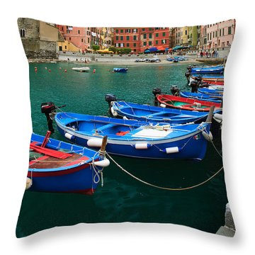 Vernazza Boats Throw Pillow by Inge Johnsson