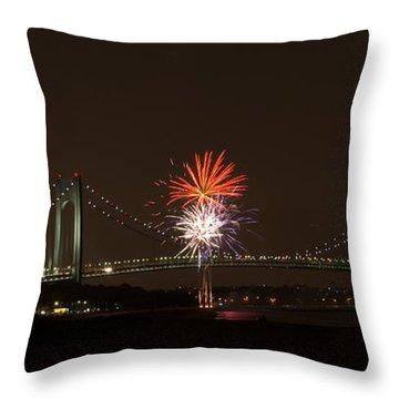 Verrazano Narrows Bridge Fireworks Throw Pillow