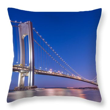 Verrazano Bridge Before Sunrise  Throw Pillow