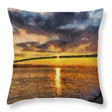 Verrazano Bridge During Sunset Throw Pillow