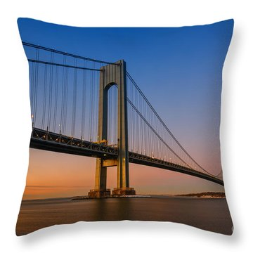 Verrazano Bridge Sunrise  Throw Pillow