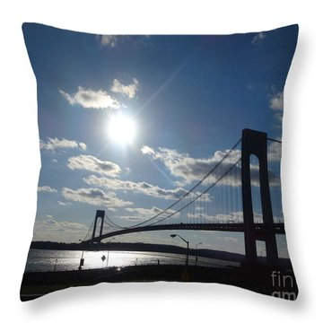 Verrazano Bridge Sunset Throw Pillow