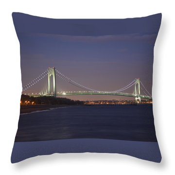 Verrazano Narrows Bridge At Night Throw Pillow by Kenneth Cole