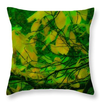 Throw Pillow featuring the digital art Vert Leaves by Kristen R Kennedy
