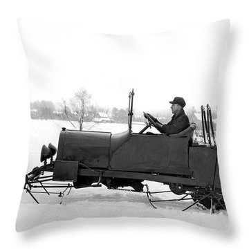 Very Early Snowmobile Throw Pillow by Underwood Archives