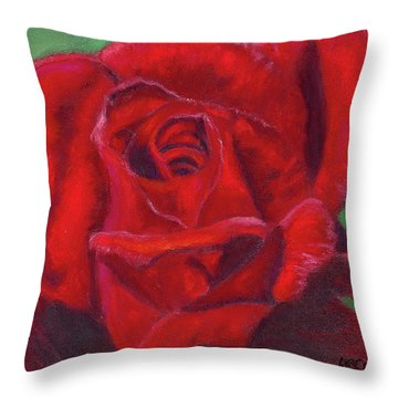 Very Red Rose Throw Pillow by Arlene Crafton