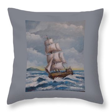 Vessel In The Sea Throw Pillow