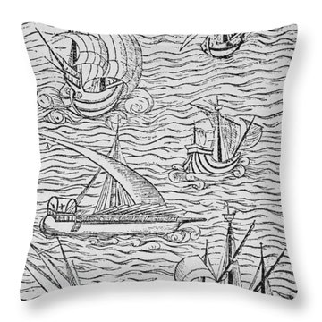 Vessels Of Early Spanish Navigators From The Narrative And Critical History Of American Throw Pillow by English School