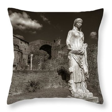 Vestal Virgin Courtyard Statue Throw Pillow