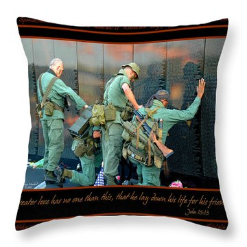 Veterans At Vietnam Wall Throw Pillow