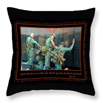Veterans At Vietnam Wall Throw Pillow by Carolyn Marshall